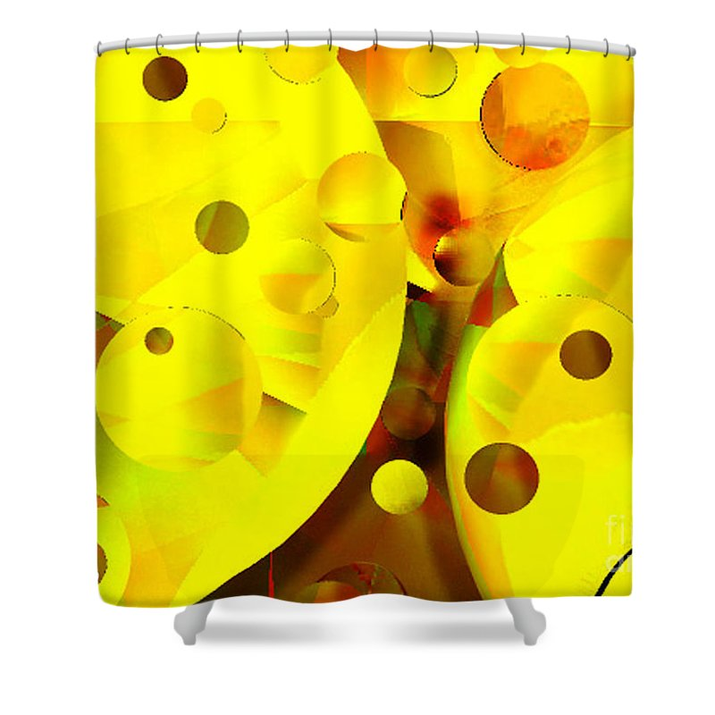 Suns Shower Curtain featuring the digital art Many Suns by Shelley Jones