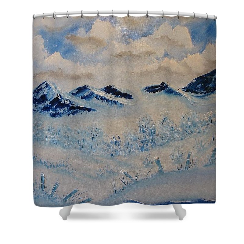Blue Shower Curtain featuring the painting Many Valleys by Laurie Kidd