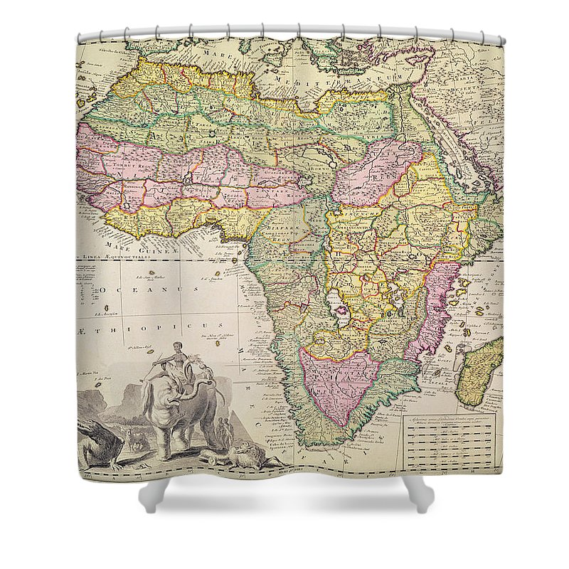 Map Shower Curtain featuring the drawing Map Of Africa by Pieter Schenk