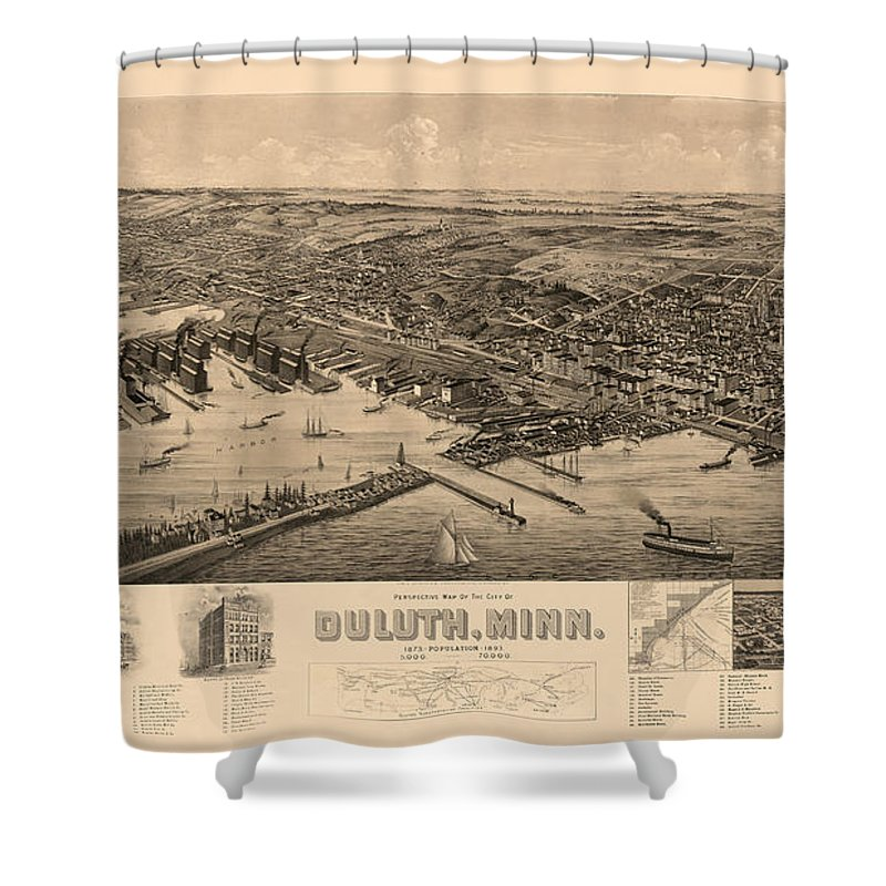Map Of Duluth Shower Curtain featuring the photograph Map Of Duluth 1893 by Andrew Fare