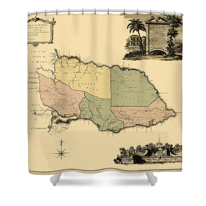 Map Of Jamaica Shower Curtain featuring the photograph Map Of Jamaica 1763 by Andrew Fare
