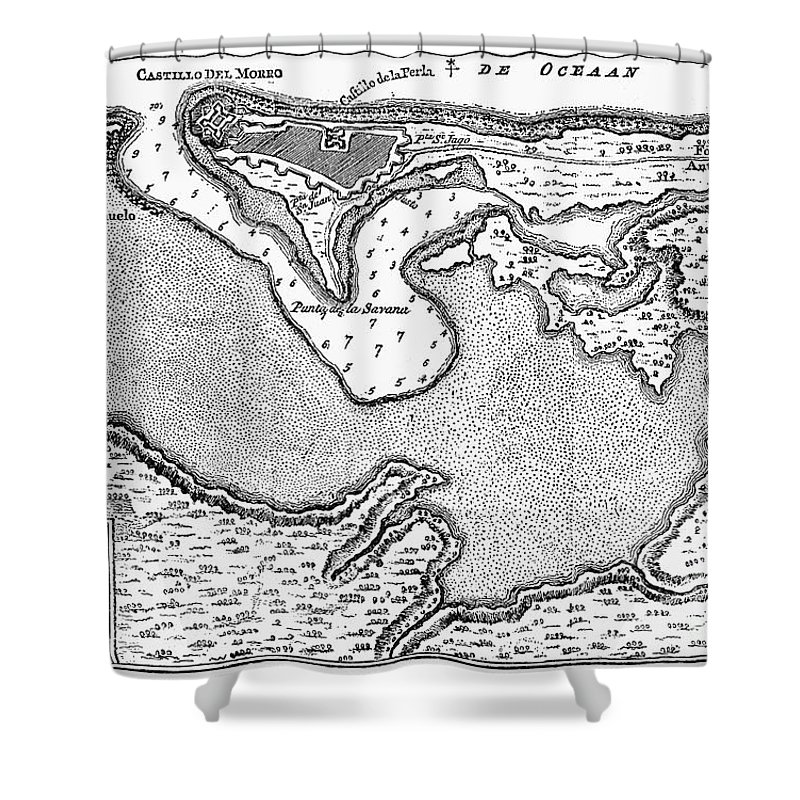 1766 Shower Curtain featuring the photograph Map Of San Juan, 1766 by Granger