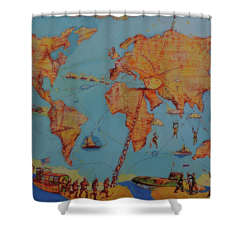 Map Of The World Shower Curtain For Sale By Romeo Melikyan