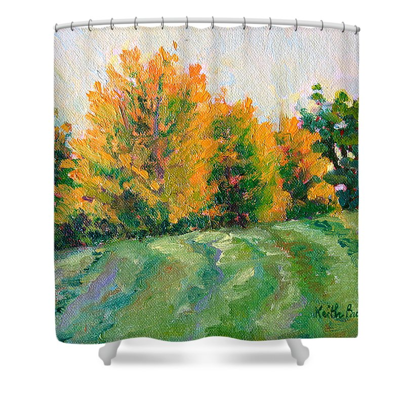 Impressionism Shower Curtain featuring the painting Maple Grove by Keith Burgess