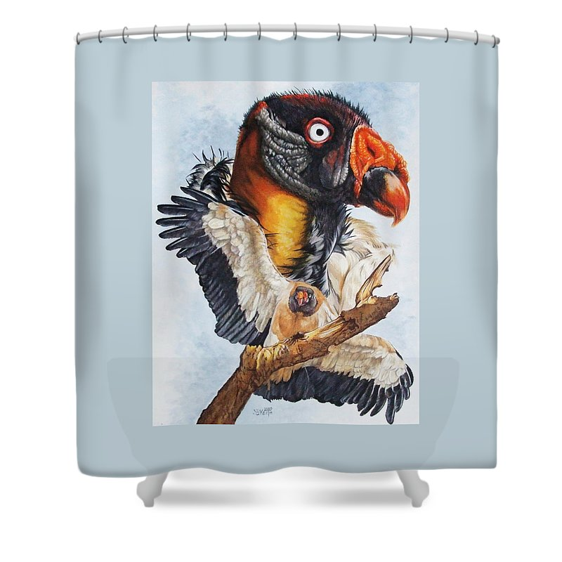 Vulture Shower Curtain featuring the mixed media Marauder by Barbara Keith