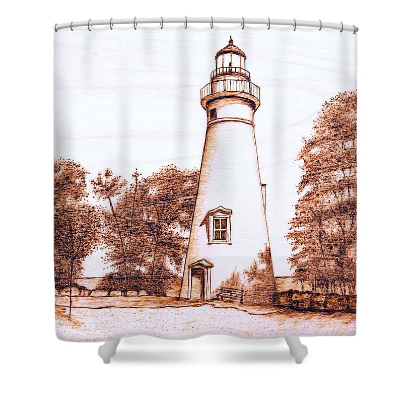 Lighthouse Shower Curtain featuring the pyrography Marblehead Lighthouse by Danette Smith