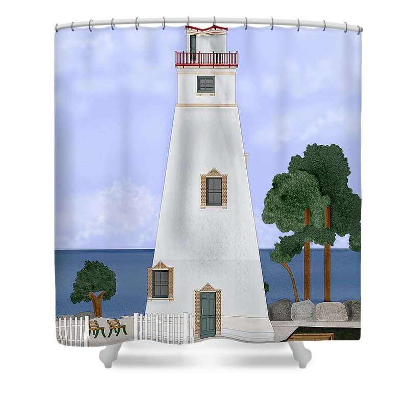 Marblehead Ohio Lighthouse Shower Curtain featuring the painting Marblehead Ohio by Anne Norskog