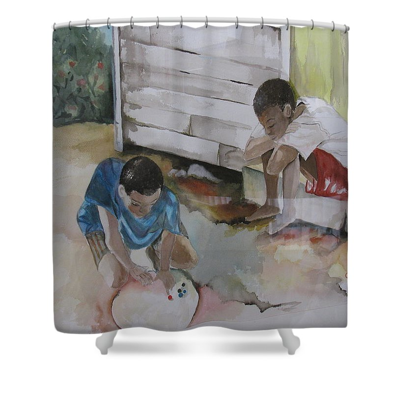 Bahamas Shower Curtain featuring the painting Marbles by Donna Steward