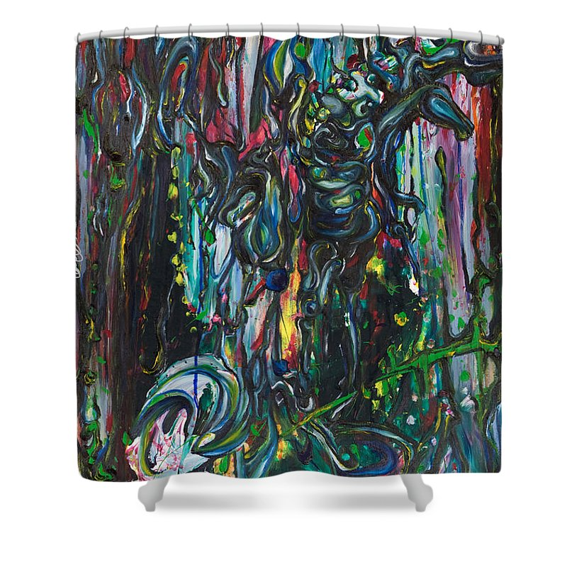 Surreal Shower Curtain featuring the painting March Into The Sea by Sheridan Furrer