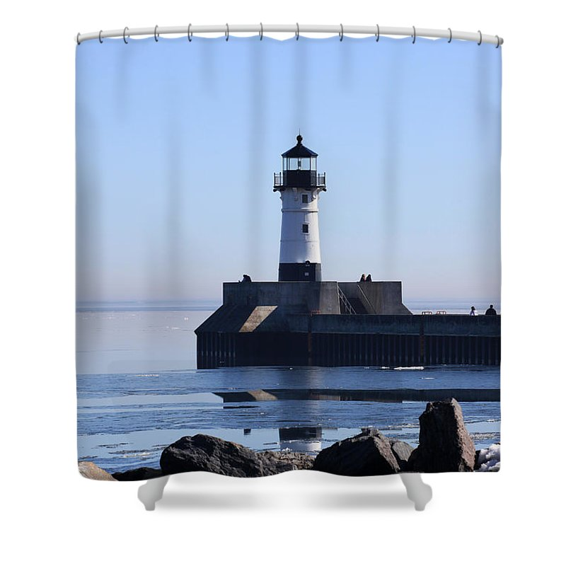 Lake Superior Shower Curtain featuring the photograph March Lghthouse by Rick Rauzi