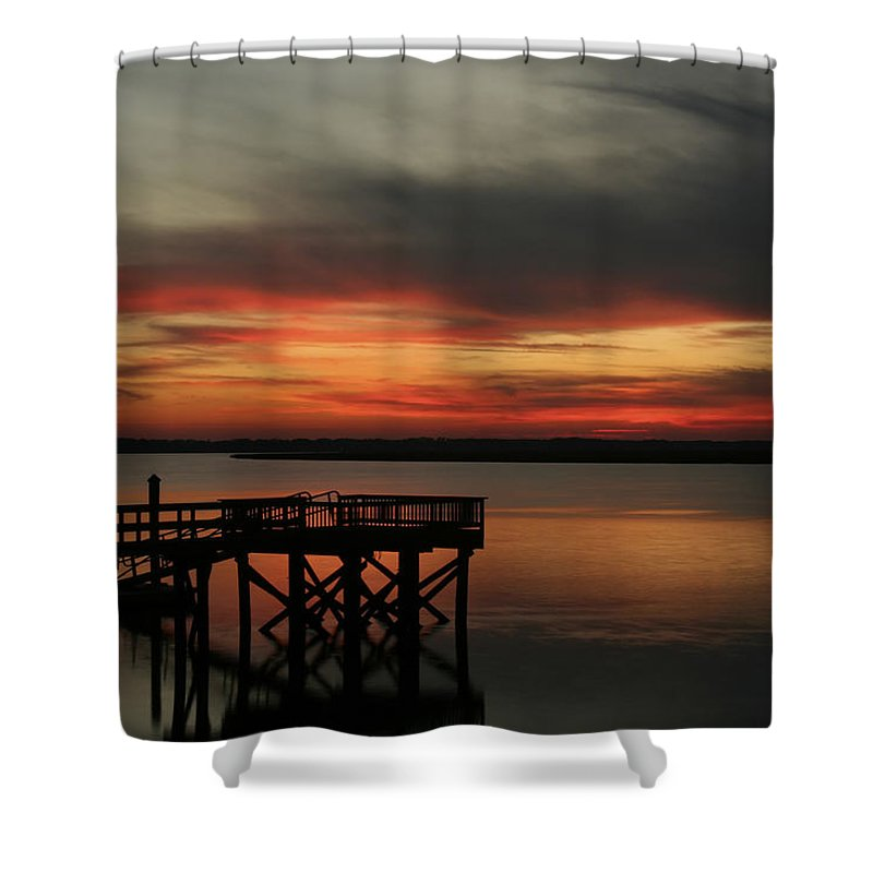 Sunset Shower Curtain featuring the photograph March Sunset by Phill Doherty