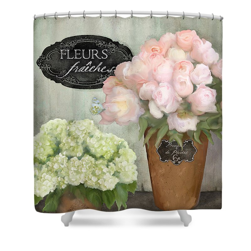 French Flower Market Shower Curtain featuring the painting Marche Aux Fleurs 2 - Peonies N Hydrangeas by Audrey Jeanne Roberts