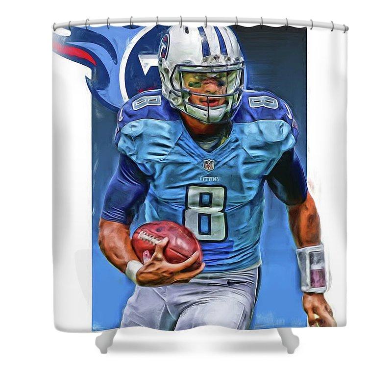 ffcf6b9c Marcus Mariota Tennessee Titans Oil Art Shower Curtain