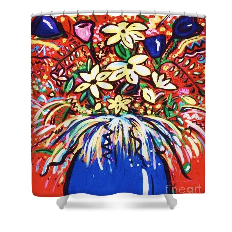 Floral Shower Curtain featuring the painting Mardi Gras Floral Explosion by Sidra Myers