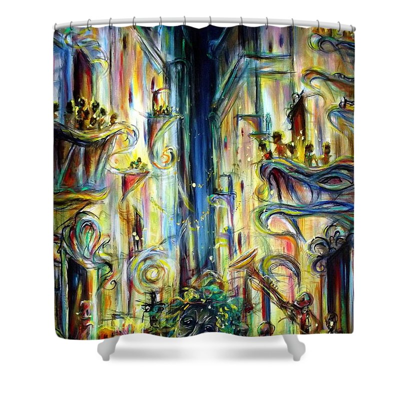 Mardi Gras Shower Curtain Featuring The Painting By Heather Calderon