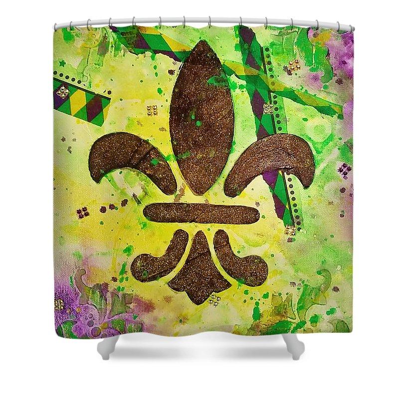 Mardi Gras Shower Curtain featuring the painting Mardi Gras by Marlene Gremillion