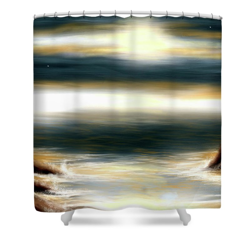 Ocean Shower Curtain featuring the digital art Mares by Veronica Castaneda
