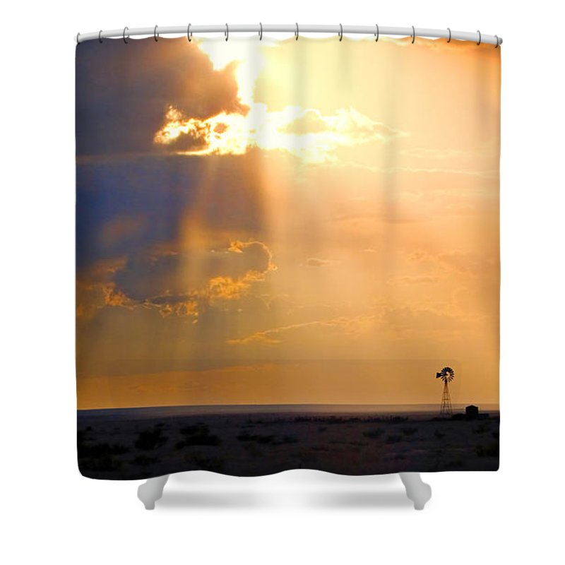 Skip Hunt Shower Curtain featuring the photograph Marfa Windmill 1 by Skip Hunt