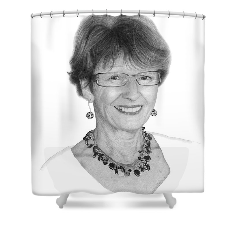 Portrait Shower Curtain featuring the drawing Margaret by Conrad Mieschke