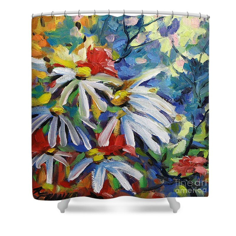 Art Shower Curtain featuring the painting Marguerites by Richard T Pranke