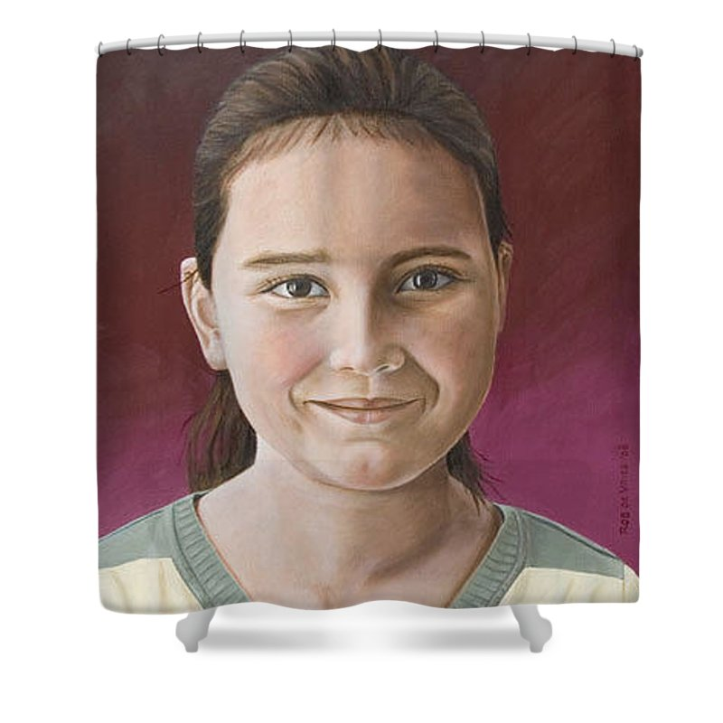 Portrait Shower Curtain featuring the painting Maria by Rob De Vries