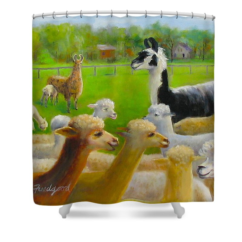 Animal Shower Curtain featuring the painting Mariah Guards The Herd by Oz Freedgood