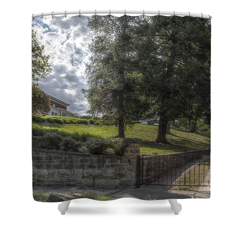 2015 Shower Curtain featuring the photograph Marian Cliff Manor by Larry Braun