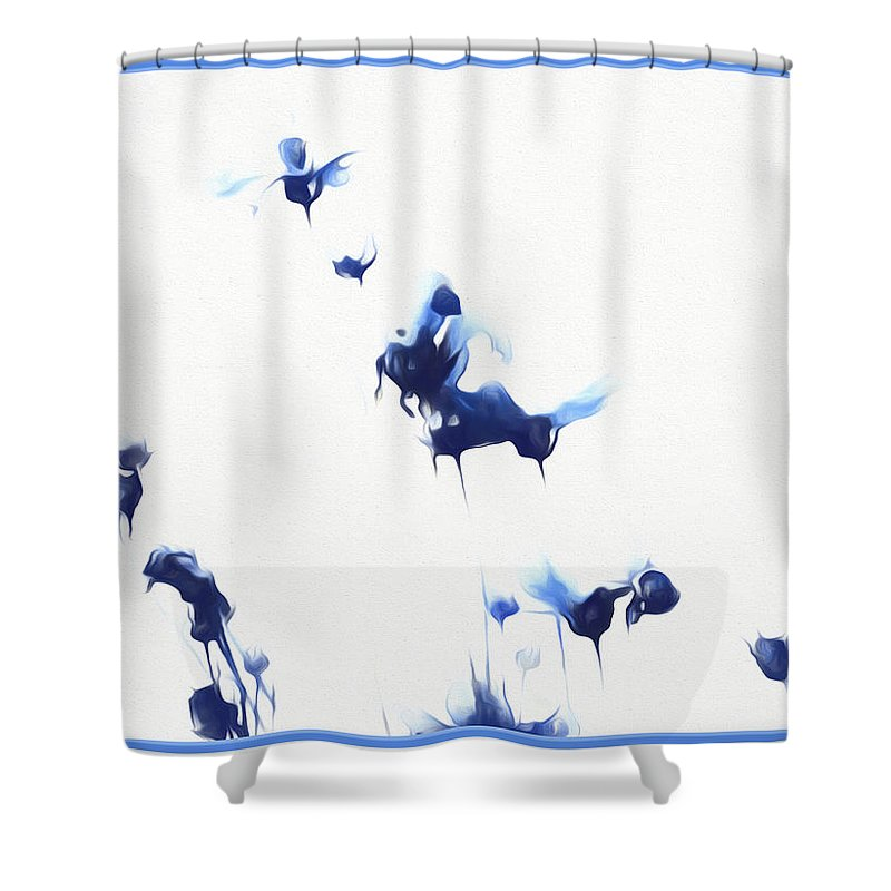 Flowers Shower Curtain featuring the mixed media Marias Song by Debra Lynch