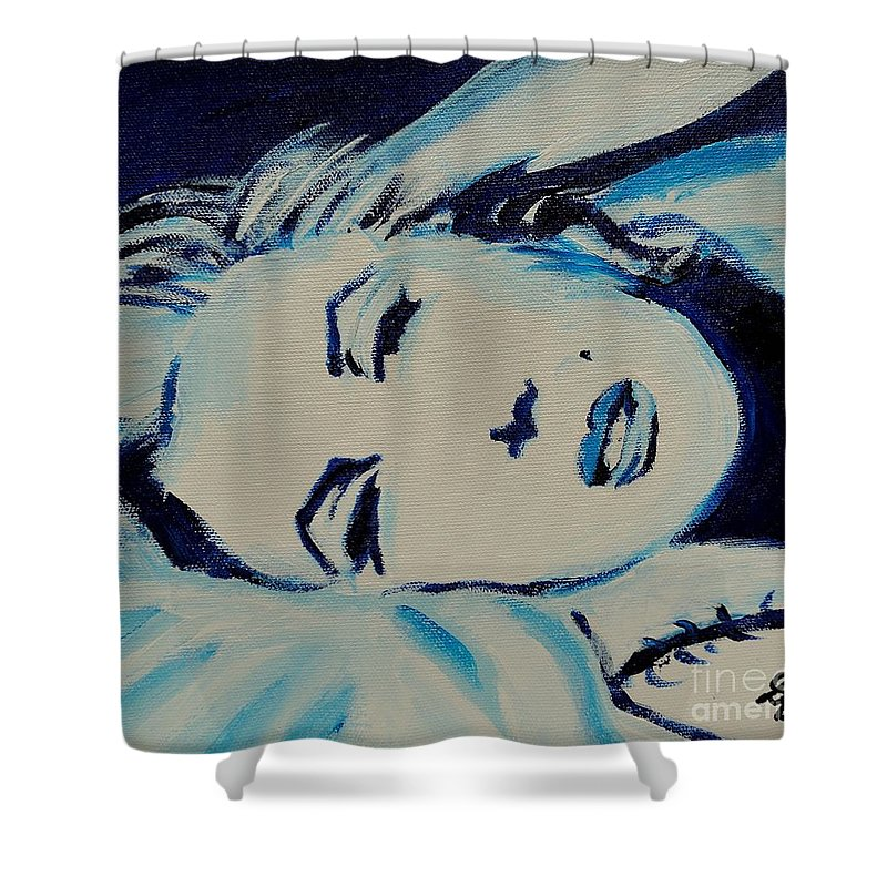 Marilyn Monroe Shower Curtain featuring the painting Marilyn In Blue by Art by Danielle