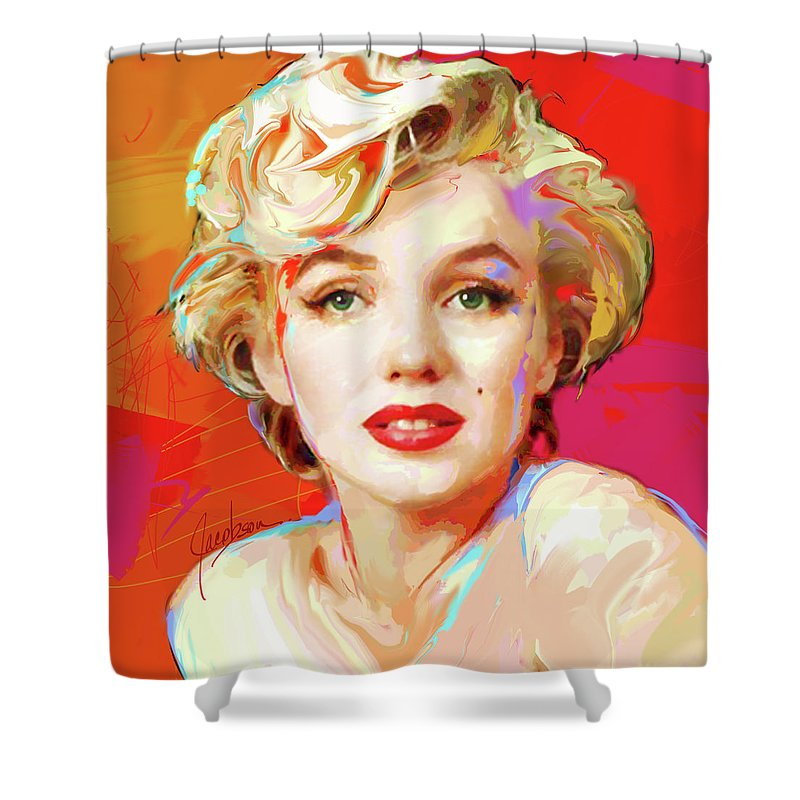 Marilyn Shower Curtain featuring the painting Marilyn Monroe 4 Red by Jackie Jacobson