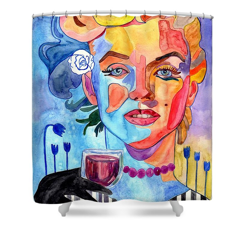 Marilyn Monroe Shower Curtain featuring the painting Marilyn Monroe Drinking Wine by Suzann Sines