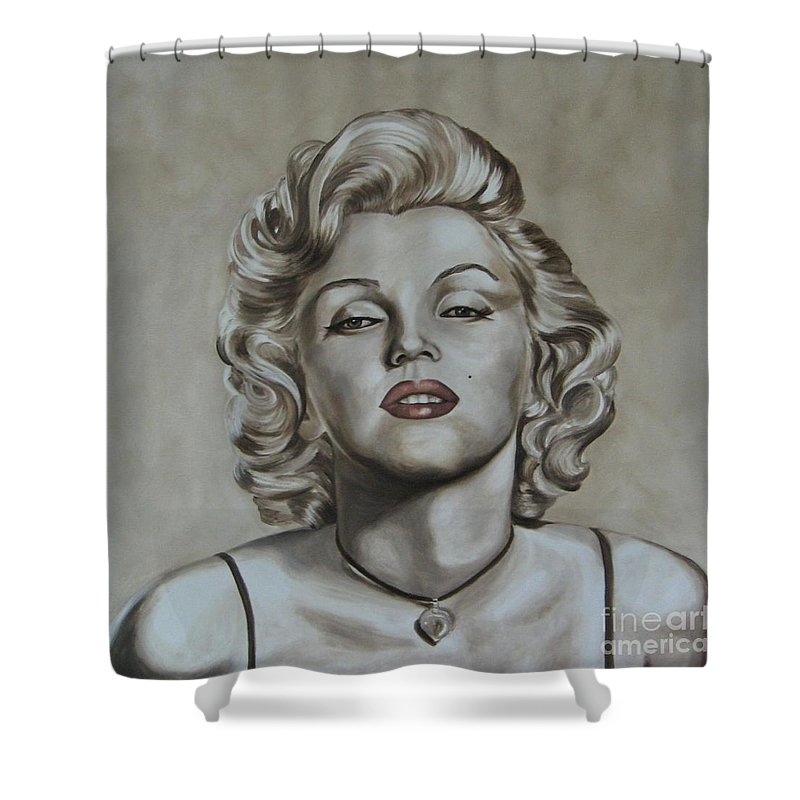 Oil Shower Curtain featuring the painting Marilyn Monroe by Jindra Noewi