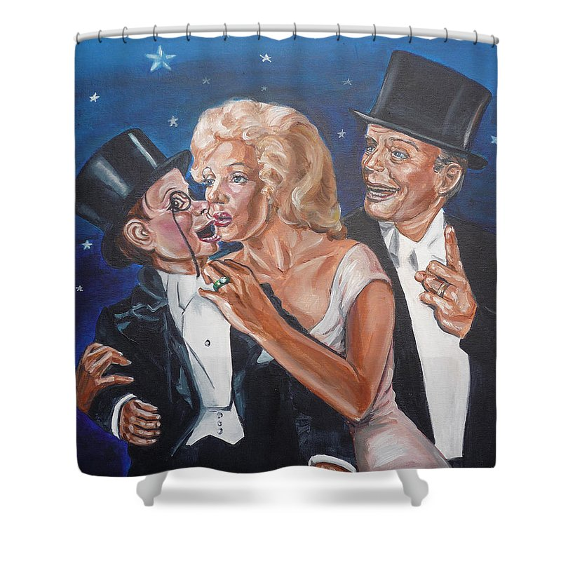 Old Time Radio Shower Curtain featuring the painting Marilyn Monroe Marries Charlie Mccarthy by Bryan Bustard