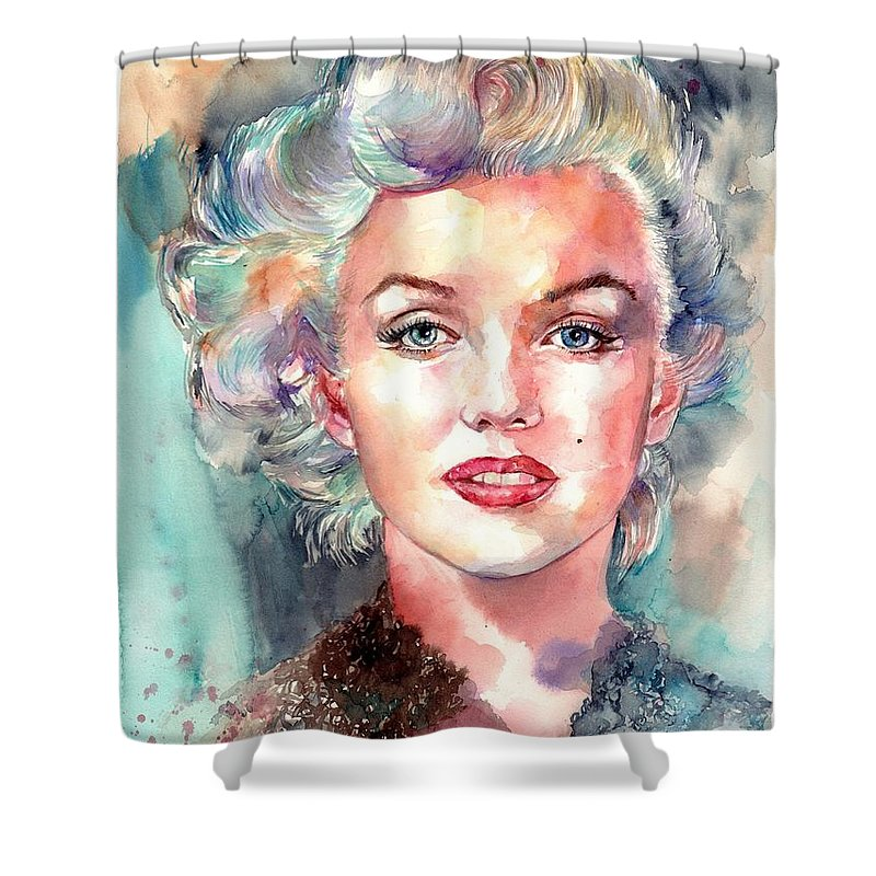 Marilyn Monroe Shower Curtain featuring the painting Marilyn Monroe Portrait by Suzann's Art