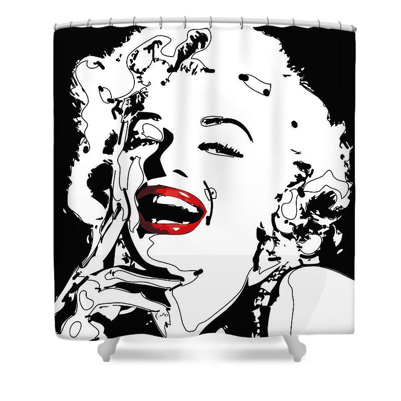 Actress Shower Curtain featuring the digital art Marilyn Monroe by Rabi Khan