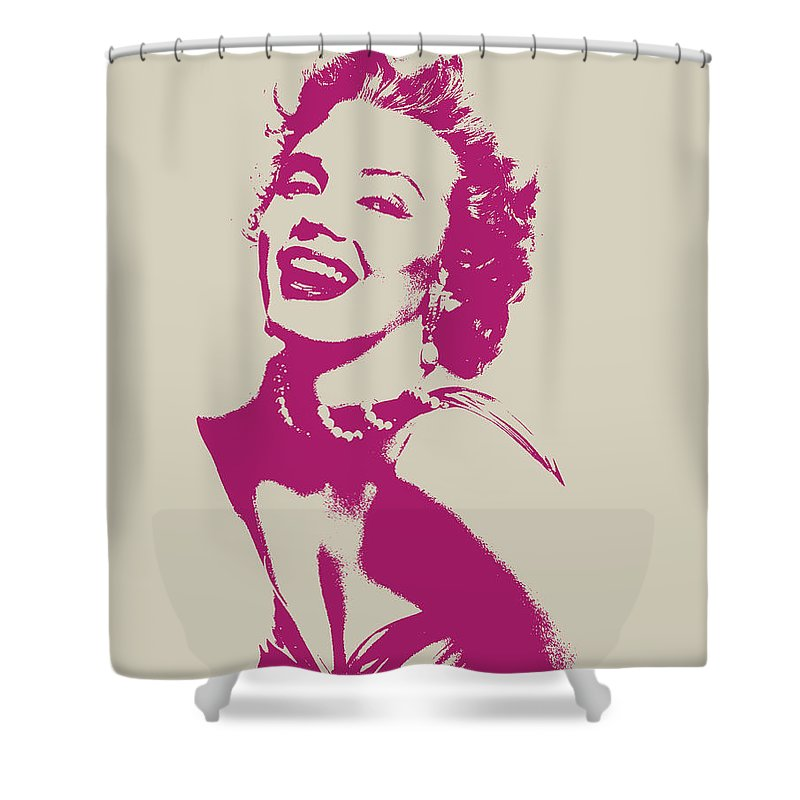 Marilyn Monroe Shower Curtain featuring the mixed media Marilyn Monroe Vector Pop Art Portrait by Design Turnpike