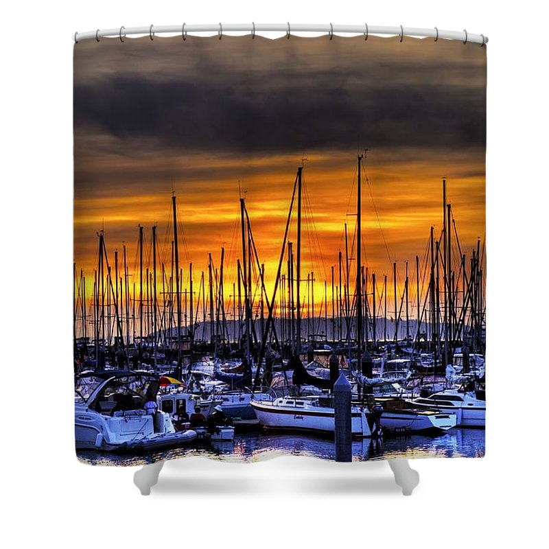 Hdr Shower Curtain featuring the photograph Marina At Sunset by Brad Granger