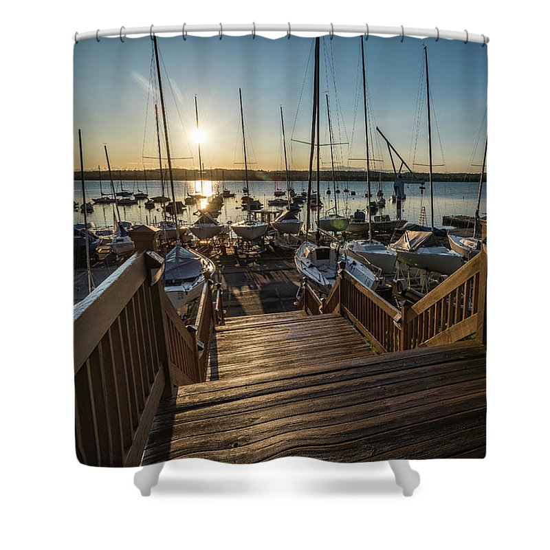 Sailing Shower Curtain featuring the photograph Marina Sunrise by Joann Long