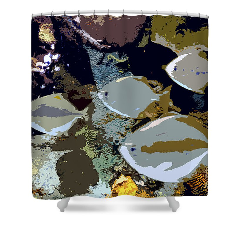 Marine Life Shower Curtain featuring the painting Marine Life by David Lee Thompson