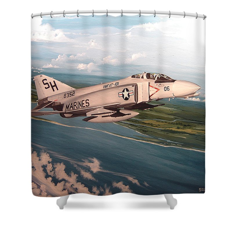 Aviation Shower Curtain featuring the painting Marine Phantom by Marc Stewart