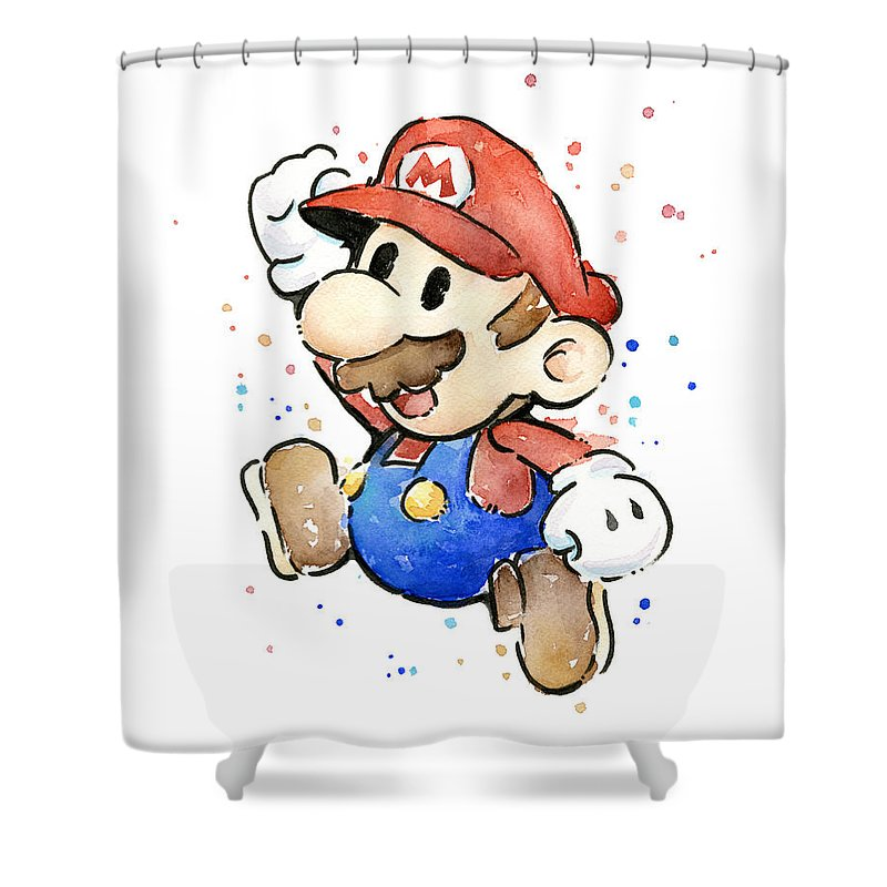 Mario Shower Curtain Featuring The Painting Watercolor Fan Art By Olga Shvartsur