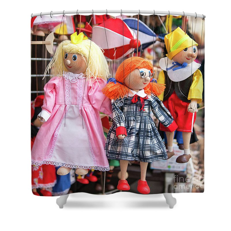Witches Shower Curtain featuring the photograph Marionettes 1940 by Terri Winkler