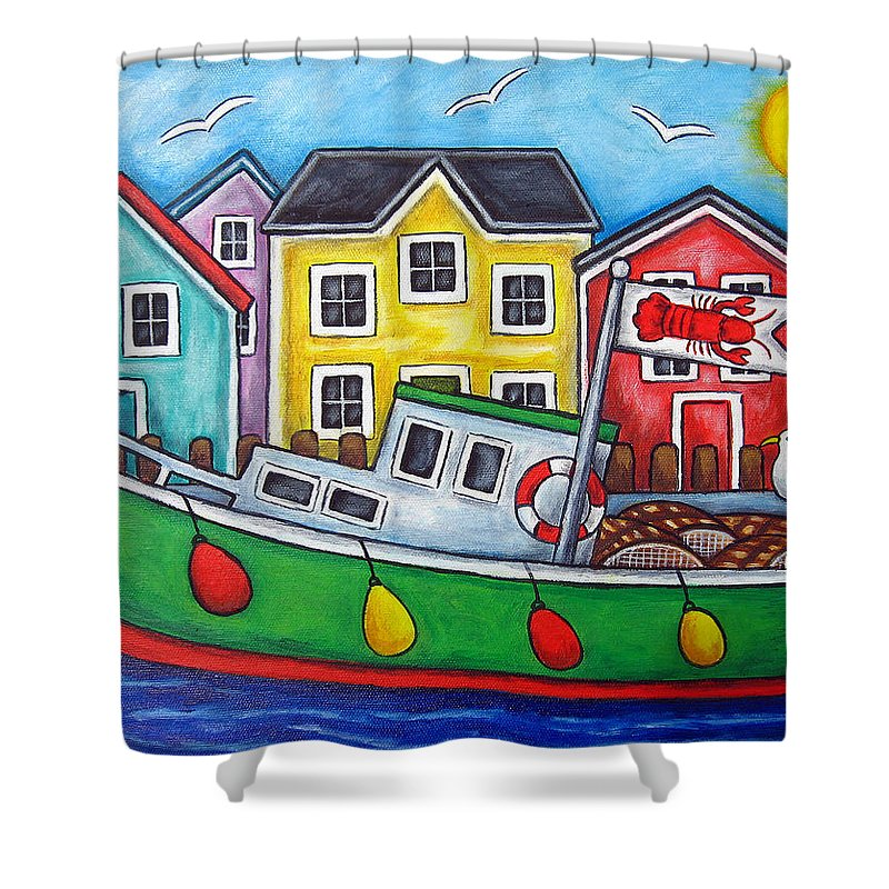 Lisa Lorenz Shower Curtain featuring the painting Maritime Special by Lisa Lorenz