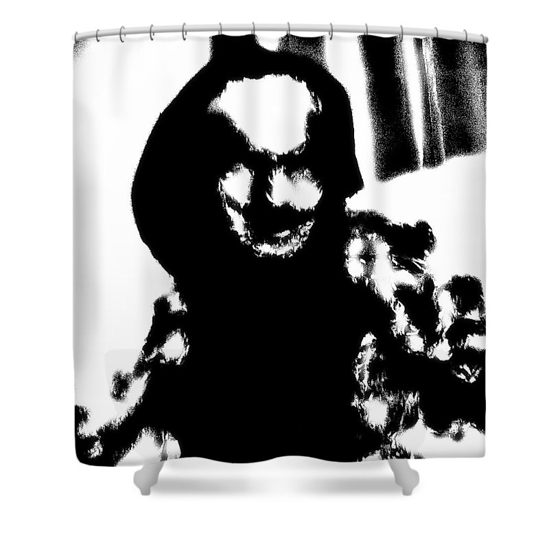 Surreal Shower Curtain featuring the mixed media Marius - The Whisperer by Mr Shadower