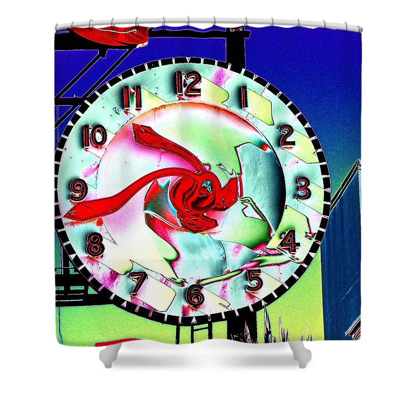 Seattle Shower Curtain featuring the photograph Market Clock 2 by Tim Allen