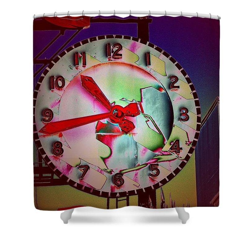 Seattle Shower Curtain featuring the digital art Market Clock 3 by Tim Allen