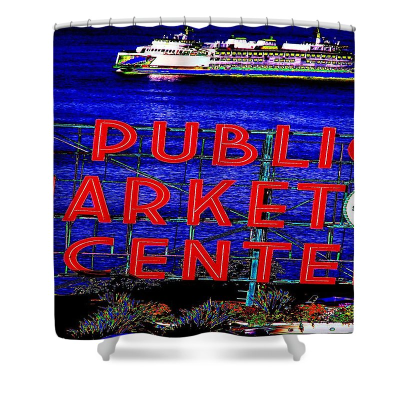 Seattle Shower Curtain featuring the photograph Market Clock And Ferry by Tim Allen