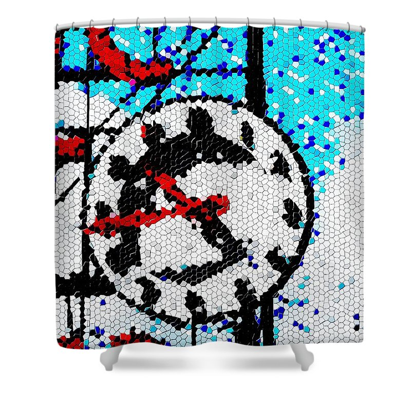 Seattle Shower Curtain featuring the digital art Market Clock Mosaic by Tim Allen