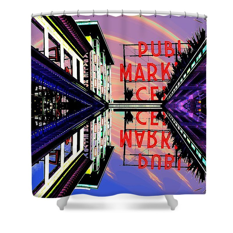 Seattle Shower Curtain featuring the digital art Market Entrance by Tim Allen