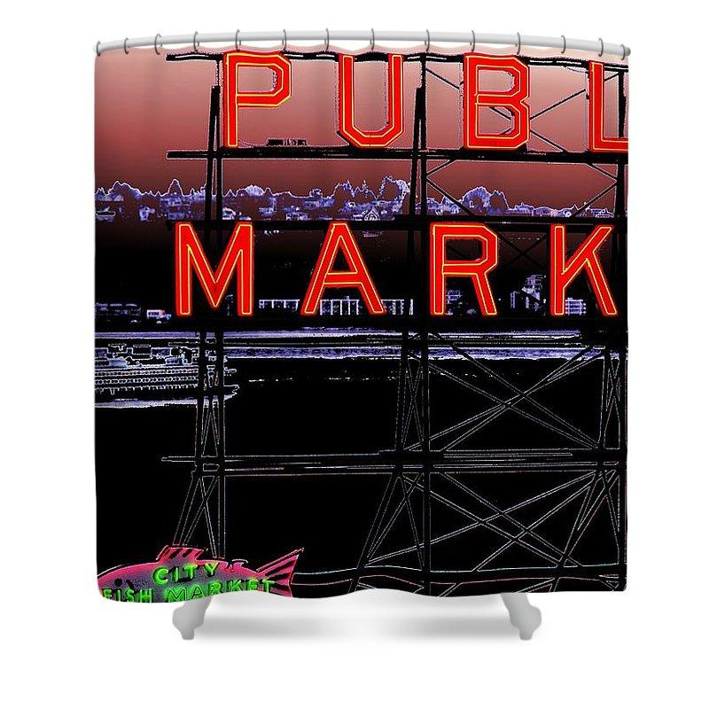 Seattle Shower Curtain featuring the digital art Market Ferry 2 by Tim Allen